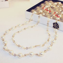 Wholesale Long Flower Crystal Pendant Necklace - Crystal Beads Necklace & Pendant for Women Flower Charms Long Necklace Sweater Jewelry Korean Pearl Necklace Wedding Party Costume Bijoux