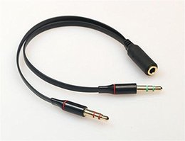 Wholesale Mic Cable Splitter - 3.5mm AUX Audio Mic Splitter Cable Earphone Headphone Adapter Female to 2 Male GSCP2042