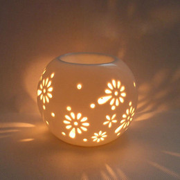 oil porcelain Coupons - Handmade Ceramic Essential Oil Burner Porcelain Tealight Candle Holder with Hollow Out Flower Wedding Gifts Home Bar Decoration