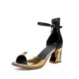 Wholesale Personalized Shoes Gold - 2016 new shoes fashion heels personalized high heels shoes thick with 6.5cm height Number 110-208-2