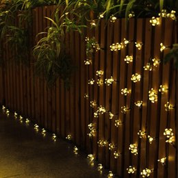 Wholesale Outdoor Lighting Flower - 7M 50 LED Outdoor Solar Powered String Lights Flower Lamps 8 Modes 23ft Multi-color Waterproof Decorative Christmas Fairy Blossom Light