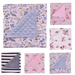 Wholesale baby thermal blankets - Baby Minky bubble dot blanket Cotton Floral flamingo Stripe Receiving Blanket Newborn Bedding Towels Shower Robes Cushion Gift