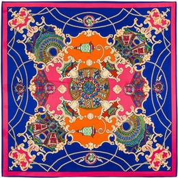 Wholesale Silk Twill Branded - 100cm*100cm 100% Twill Silk Euro Brand French design sky Hofgarten the palace garden Printed Women Square Silk Scarves