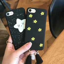 Wholesale Smile Phone Cases - Beautiful Star Pendant Tassel Case For Apple iPhone 7 6 6s Plus Cute Smile Phone Cover Hard PC Back Cases Capa Coque