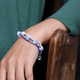 Wholesale National Ceramics - 2016 Newest Promotions Jingdezhen Ceramic Bracelet National Wind Jewelry Woven Bracelets Explosion Models Braided Jewelry Unisex Wholesale