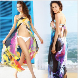 Wholesale Wholesale Tunic Chiffon - Summer Sexy Women Bikini cover up 2016 Swimsuit Chiffon Straps Wrapped Veil Beach Exit Beach Dresses Long Tunic Swimwear Bathing suit