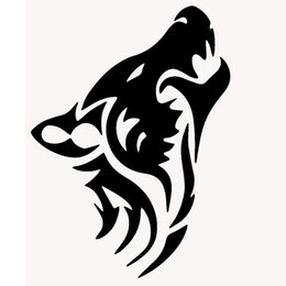 Wholesale Classic Car Windshield - length:50cm Wolf Silhouette Classic Car Sticker For Cars Side, Truck Window ,Auto Door Kayak Vinyl Decal 8 Colors