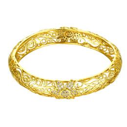 Wholesale Gold Set Flower - Best Foreign sale Noble Fashion 18K Gold Zircon Engrave Flower bracelet lucky charm bracelet for lover & bossom female friends