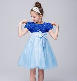Wholesale Burgundy Wedding Dresses Uk - FAIRY PRINCESS UK, SEQUIN SAPPHIRE BLUE CHRISTENING FLOWER GIRLS PARTY DRESS