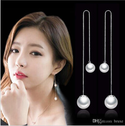OL moda lungo paragrafo nappa perla filo orecchio ipoallergenico coreano moda gioielli in argento produttori, orecchini all'ingrosso fungo bianco da perle di paragrafo fornitori