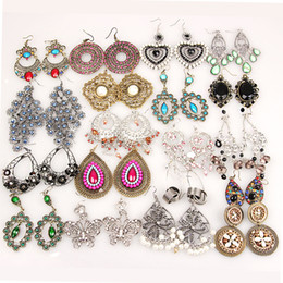 Wholesale Alphabets Crystal - Mixed vintage bohemian long dangle earrings galzed gemstone resin bronze silver long tassel statement bohemian dangle fashion jewelry bulk
