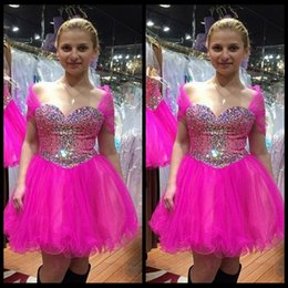 Wholesale Sweetheart Neckline Ruffles Mini - Hot Pink Sweetheart Neckline Cap Sleeve Tulle 2016 Homecoming Dress With Beaded Bodice Cocktail Homecoming Dresses