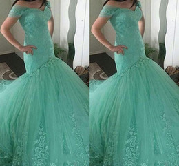 Wholesale Short Formal Dresses Turquoise - Mermaid Evening Dresses Wear 2016 Sweetheart Cap Sleeves Turquoise Mint Tulle Lace Appliques Long Court Train Party Dress Formal Prom Gowns
