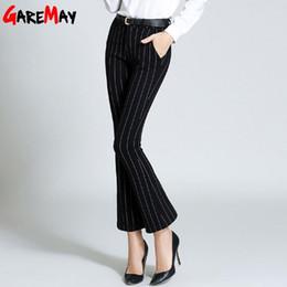 Wholesale Ladies Black Cargo Pants - Elegant Pant Ladies Women Stripe Pants Flared Slim Black Vintage Pantalones Mujer Formal Pantalon Femme Trousers GAREMAY 298