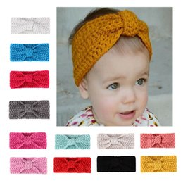 Wholesale Knitted Headbands Sports - Wholesale knit headband - sports headband mini sports headband - New Children Knitting Bow Tie Bandanas protect Ear Bow Headwear Girl