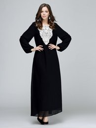 93224d2120 new autumn Arab Muslim women black long dress loose round neck Long sleeve  lady gown elegant fashion womens party evening dresses pure color