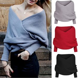 Wholesale Women Short Wool Jacket - Women Leakage Shoulder Sweater Autumn And Winter Knitted Shawl New Knit Sweater Jacket Upscale Fashion Cardigan Shawl