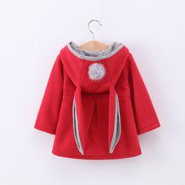 Wholesale ears hood - New children Hooded Coat Autumn Winter girls Rabbit ears Long Sleeve Outwear kids cartoon Jackets Christmas Gifts 3 colors C2614