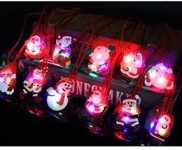 Wholesale Led Light Up Necklace - 24Pcs Flashing Light Up Christmas Holiday Necklaces for Kids, Santa Claus Christmas Tree Decorations LED Xmas Gift Supplies Party Favors