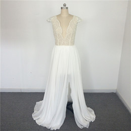 Wholesale Import Photos - Sexy V Neck Embroidered Beaded Vestido De Novias imported wedding dresses Cap Sleeve Wedding Gowns Chiffon beach wedding dress real photo