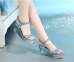 Wholesale Shoes Thick Crust Fish Head - Summer sandals 2016 new fish head high heels sandals women slope with thick crust waterproof sweet word buckle leather women shoes heels san