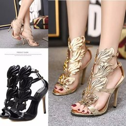 winged sandals Coupons - Hot selling Flame metal leaf Wing High Heel Sandals Gold Nude Black Party Events Shoes Size 35 -40