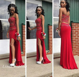 Wholesale Long Strapless Tight Dress - Free Shipping New Sexy Red Two Piece Evening Dresses African Vestido de Festa Longo Sleeveless Beading Floor-Length Long Tight Prom Dresses