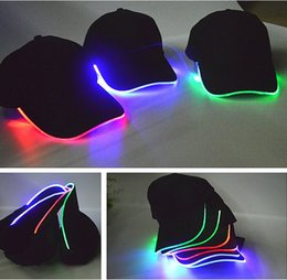 Wholesale Baseball Caps Led Lights - 7 colors Fashion LED lights Glow Club Party Sports Athletic Black Fabric Travel Hat Cap For Adult Baseball Caps Luminous 8 colors available