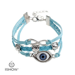 Wholesale Blue Evil Eye Charm - Fashion Jewelry PU leather HAMSA blue Evil Eye bracelets Turkish Kabbalah Chain Charm Bracelets bangle jewelry gift for men or women