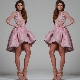 Wholesale Chiffon Pageant Cocktail - Cheap Full Lace Long Sleeves Short Cocktail Dresses 2016 Deep V Neck Formal Party Gowns Pageant Evening Wear Hi-lo Party Homecoming Dresses