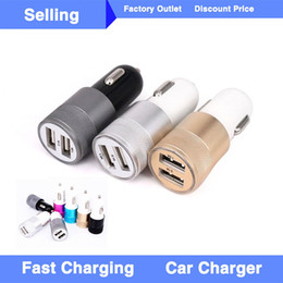 Wholesale Dual Usb Charger Socket - Metal Dual USB Port Car Charger Universal Fast Charging Adapter Socket For Apple iPhone 7 Plus iPad iPod Samsung Galaxy Huawei