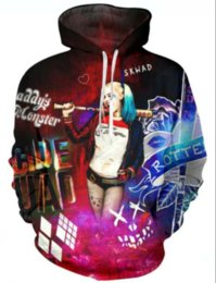 Wholesale Womens 3xl Hoodie - Newest Fashion Womens Mens Suicide Squad Harley Quinn Joker Funny 3D Print Casual Hoodies Pullovers Sweatshirts LMS0081