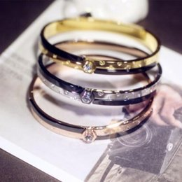 Wholesale Womens Stainless Steel Bangle - High Quality Womens Gold Color Initial Wide Bangle Bracelets Stainless Steel Bracelets&Bangles fashion jewelry