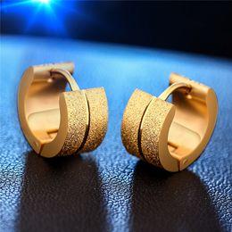 Wholesale Mens Diamond Studs - 2016 European hot titanium earrings with Diamond Earrings Silver   gold matte stainless steel Mens Earrings ear clip non mainstream personal