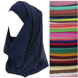 Scialli chiffoni pianura online-Hiqh qualità pianura colori chiffon donne testa sciarpa scialle avvolgere musulmano hijab fascia 180 cm x 75 cm