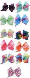 Wholesale Wholesale Hair Barrettes For Kids - 10 Pcs Lot 7 Inch Girls Gradient Rainbow Rhinestone Bow With Clip For Kids Barrettes Hairgrips Hair Accessories Beautiful HuiLin AW47