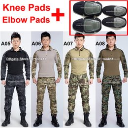 Wholesale Emerson Shirt Pants - Wholesale military uniform german acu multicam camo combat shirt + emerson tactical pants with knee pad kryptek mandrake camouflage clothing