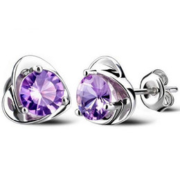 Wholesale Purple Heart Stud Earrings - Silver Crystal Stud Earrings Jewelry Hot Salel Heart Earrings for Wedding Party White and Purple Wholesale Free Shipping - 0009WH