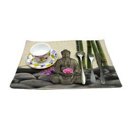 Wholesale Patterned Table Cloth - Wholesale- zen pattern print insulation pad Table mat Placemat Bowl mat Waterproof cloth pads Anti slip mat