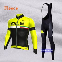 Wholesale Thermals Suits - Winter 2017 Thermal Ale Cycling Clothing Sets Men Fleece Jersey Bike Bicycle suits Cycling Kit Green Yellow Red Blue Ropa Ciclismo Jacket