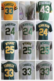 Wholesale Marks 24 - Mens Throwback Oakland Baseball Jerseys 33 Jose Canseco 24 Rickey Henderson 25 Mark McGwire Baseball Jerseys Stitched White Green Gray