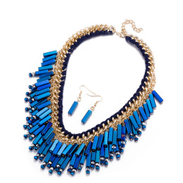 Wholesale Dark Blue Necklace Gold - 2017 Hot Selling Jewelry Sets Trendy Alloy Blue Rose gold Purple Exaggerated Famous Brand Crystal Necelace Earring Set in Europe and America