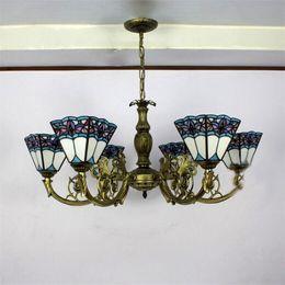 Wholesale European Light Switch - Blue Shape Tiffany Chandelier Lighting European Mediterranean Vintage Glass Suspension Light Bar Hotel Cafe Hanging Lamp Pendientes