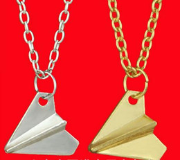 Wholesale Airplane One Direction - One Direction Paper Plane Necklace Charm Alloy Jewelry New Design 1D Plane Necklace paper Airplane Necklaces