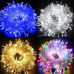 luces de navidad seguras Rebajas 30M / 100M 500 luces de hadas de cadena de LED 24V Voltaje seguro Decoración de Navidad Luces blancas cálidas Brillo aligerar Colorfull Fiesta de Navidad Boda