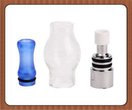 Wholesale Double Coil Clearomizer Tank - Glass Globe Atomizers Dual Coil Dome Wax Tank Dry Herb Double Ceramic Titanium Wick Clearomizer Electronic Cigarette Tank DHL Free