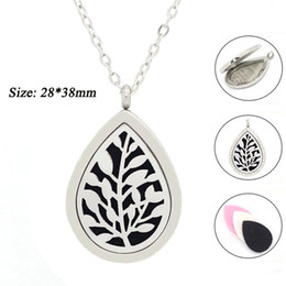 Wholesale Diamond Life - With chain as gift! teardrop tree of life Aromatherapy   Essential Oils Stainless Steel Perfume Diffuser Locket