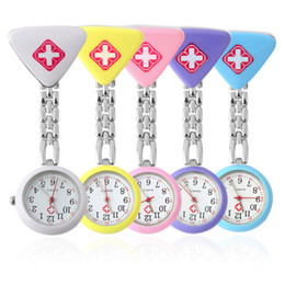 Wholesale Digital Fob Watches - Nurse watches triangle nurse watches doctor Triangle Pendant Pocket watch Red Cross Brooch Nurses Watches fob Hanging Medical Watch 100pcs