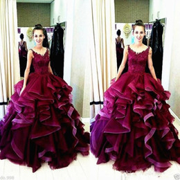 Wholesale Navy Blue Princess Organza - Princess Burgundy Prom Dresses Lace Appliques Ruffles Skirt Evening Dress Sleeveless Long Formal Ball Party Gown Illusion Back