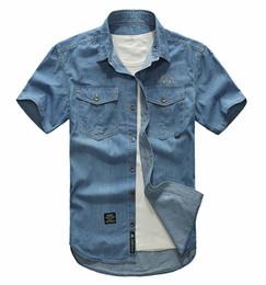 Wholesale Cool Shirts Collar Style - Wholesale-Plus size M- 5XL 2016 European cowboy style men's cool summer casual brand short shirts man blue shirt CSS0178 T0503